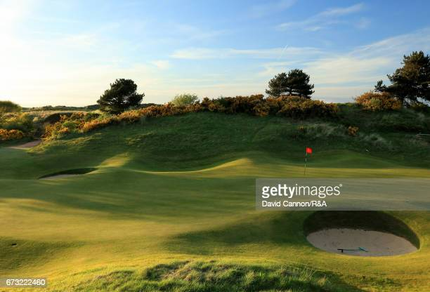 A general view of the green on the par 5 17th hole at Royal Birkdale Golf Club the host course for the 2017 Open Championship on April 24 2017 in...