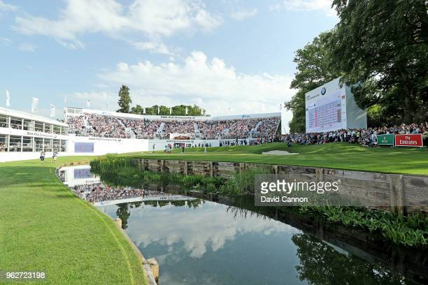 General view of the green on the par 5, 18th hole as Rory McIlroy of Northern Ireland and Sam Horsfield of England in the final group putt out during...