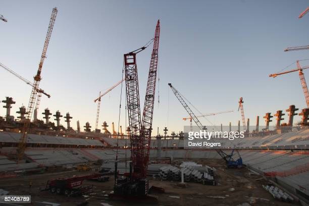 A general view of The Green Point Stadium under construction on August 18 2008 in Cape Town South Africa The stadium will host the semi finals of the...
