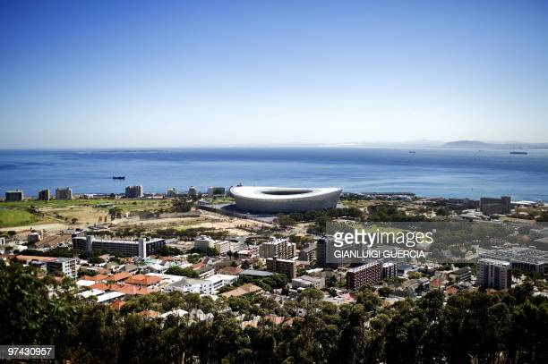 A general view of the Green Point WC2010 Cape Town stadium is seen from Signal Hill during a celebration to mark 100 days ahead of the FIFA WC2010...