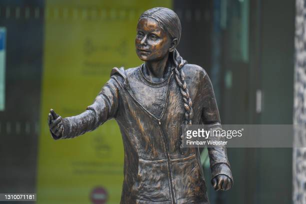 General view of the Greta Thunberg statue on March 31, 2021 in Winchester, England. The school's student union was critical of the money spent on the...