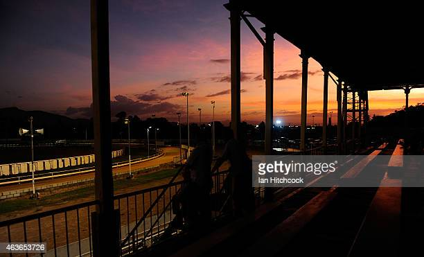 A general view of the Greyhounds race track at the Townsville Showgrounds during a Greyhound Race meeting on February 17 2015 in Townsville Australia...