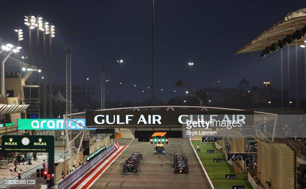 General view of the grid after the first formation lap during the F1 Grand Prix of Bahrain at Bahrain International Circuit on March 28, 2021 in...