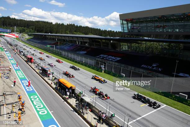 General view of the grid before the Formula One Grand Prix of Austria at Red Bull Ring on July 05, 2020 in Spielberg, Austria.