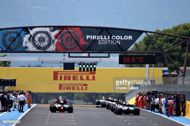 A general view of the grid before the Formula One Grand Prix of France at Circuit Paul Ricard on June 24 2018 in Le Castellet France