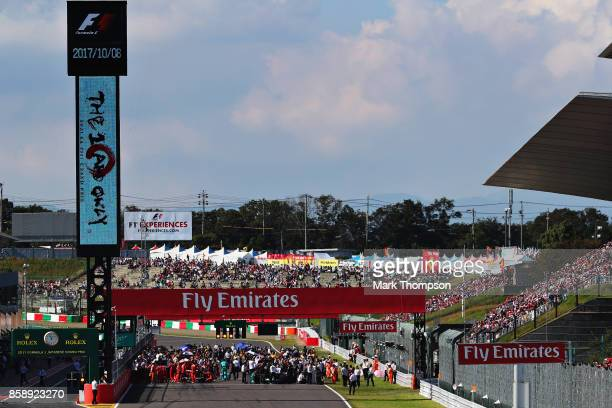 A general view of the grid before the Formula One Grand Prix of Japan at Suzuka Circuit on October 8 2017 in Suzuka