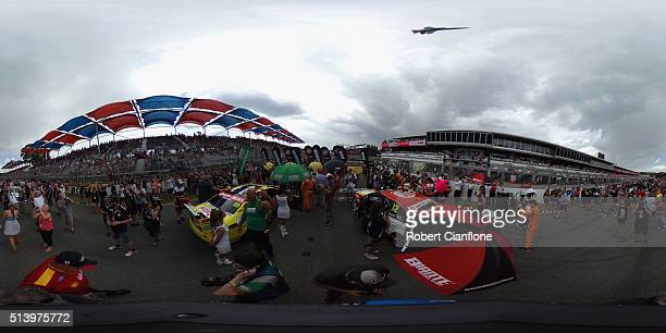 A general view of the grid prior to race three of the V8 Supercars Clipsal 500 at Adelaide Street Circuit on March 6 2016 in Adelaide Australia