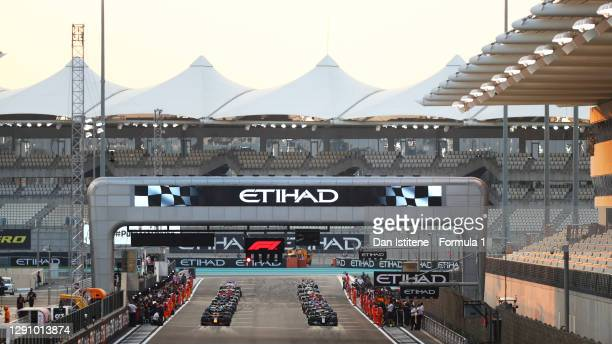 General view of the grid prior to the F1 Grand Prix of Abu Dhabi at Yas Marina Circuit on December 13, 2020 in Abu Dhabi, United Arab Emirates.