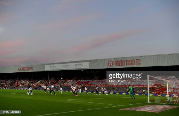 General view of the Griffin Park during the Sky Bet Championship match between Brentford and Barnsley at Griffin Park on July 22, 2020 in Brentford,...