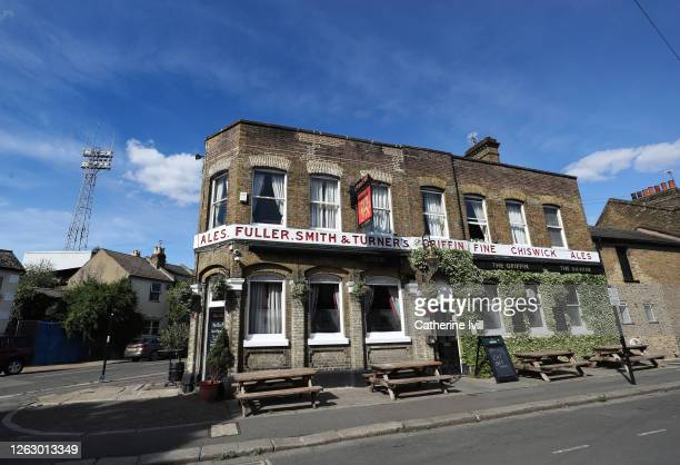 General view of The Griffin pub on the corner of the stadium ahead of the Sky Bet Championship Play Off Semi-final 2nd Leg match between Brentford...