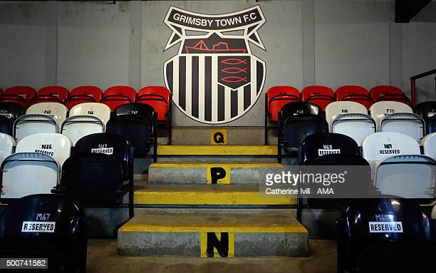 General view of the Grimsby club badge at the stadium before the Emirates FA Cup Second Round match between Grimsby Town and Shrewsbury Town at...