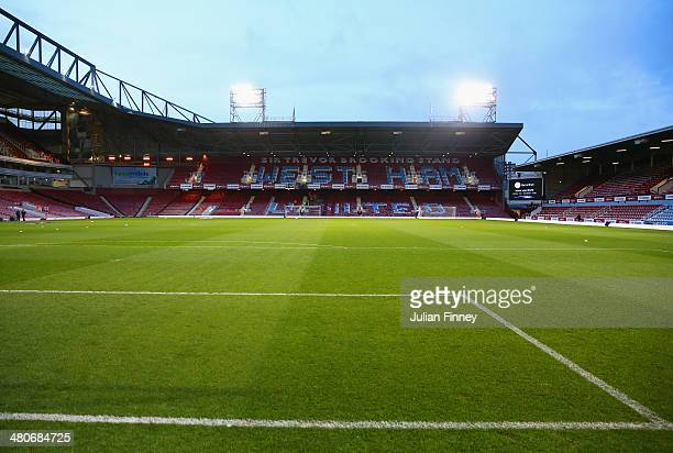 A general view of the ground ahead of the Barclays Premier League match between West Ham United and Hull City at Boleyn Ground on March 26 2014 in...