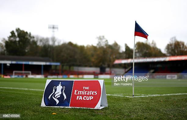A general view of the ground ahead of The Emirates FA Cup First Round match between Aldershot Town and Bradford City on November 8 2015 in Aldershot...