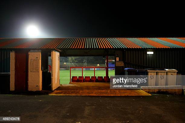 A general view of the ground ahead of the FA Cup First Round Replay match between Aldershot Town and Portsmouth at The Electrical Services Stadium on...