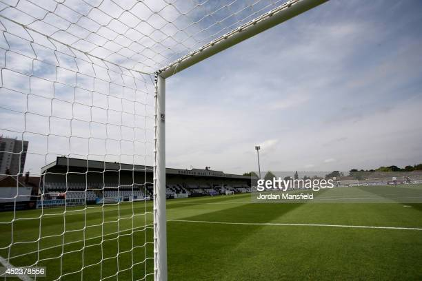 A general view of the ground ahead of the pre season friendly match between Borehamwood and Arsenal at Meadow Park on July 19 2014 in Borehamwood...