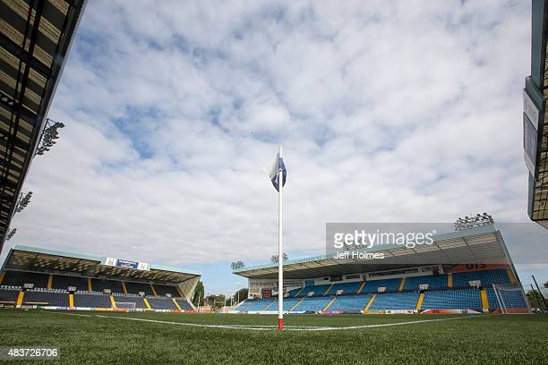 A general view of the ground ahead of the Scottish premiership match between Kilmarnock and Celtic at Rugby Park on August 12 2015 in Kilmarnock...