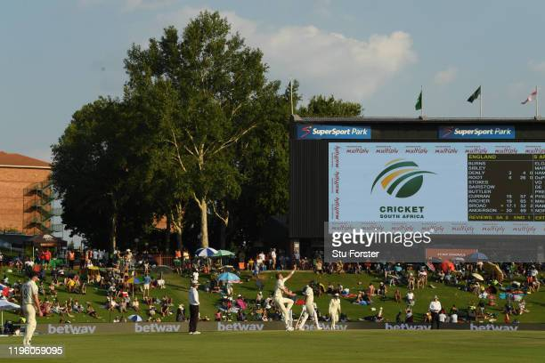 General view of the ground as England bowler Stuart Broad bowls during Day One of the First Test match between England and South Africa at SuperSport...