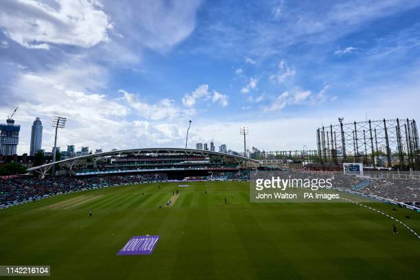 General view of the ground as England's Adil Rashid bowls during the first Royal London ODI match at The Kia Oval, London.