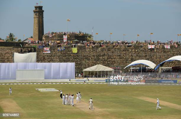 A general view of the ground as Graeme Swann of England celebrates taking the wicket of Suraj Randiv of Sri Lanka to bring up his fivefor during the...
