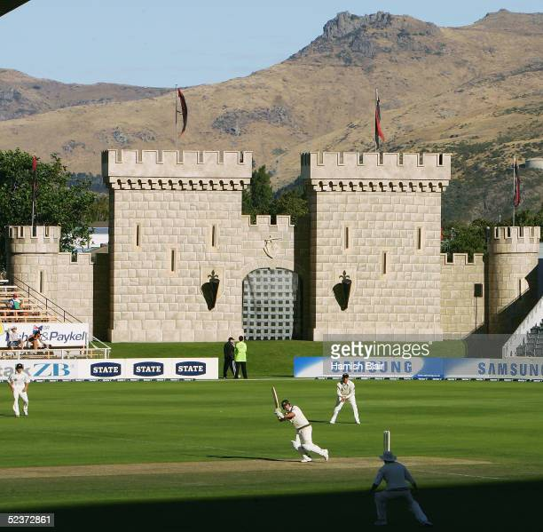 A general view of the ground as Ricky Ponting of Australia bats with the Crusaders Super 12 Rugby Team's castle in the background during day two of...