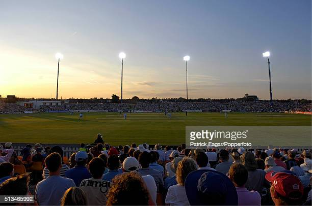 General view of the ground at sunset during the NatWest Series One Day International between England and India at Bristol 24th August 2007 India won...