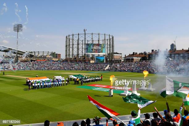 A general view of the ground at the start of the ICC Champions trophy cricket match between India and Pakistan at The Oval in London on June 18 2017