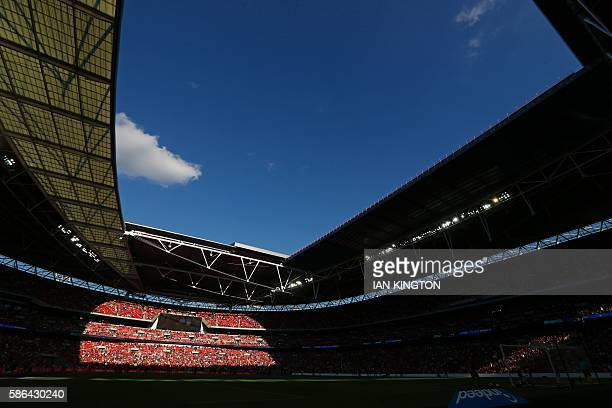 A general view of the ground bathed in sunlight during the preseason International Champions Cup football match between Spanish champions Barcelona...