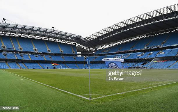 A general view of the ground before the Premier League match between Manchester City and Sunderland at Etihad Stadium on August 13 2016 in Manchester...