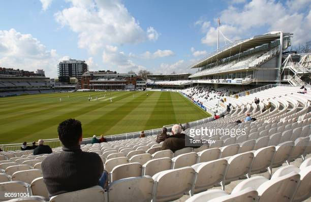 A general view of the ground during day 1 of the 4 day match between MCC and Sussex CC at Lords Cricket Ground on April 10 2008 in London England