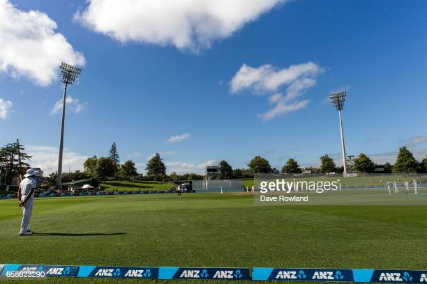 General view of the ground during day four of the Test match between New Zealand and South Africa at Seddon Park on March 28 2017 in Hamilton New...