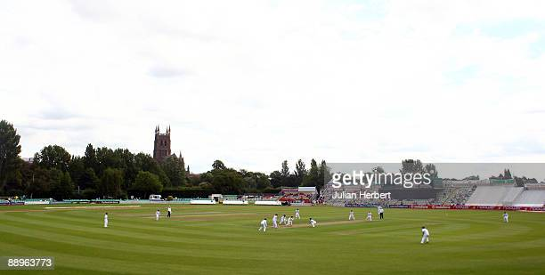 General view of the ground during Day One of The 1st Test between England Women and Australia Women at New Road on July 10, 2009 in Worcester,...