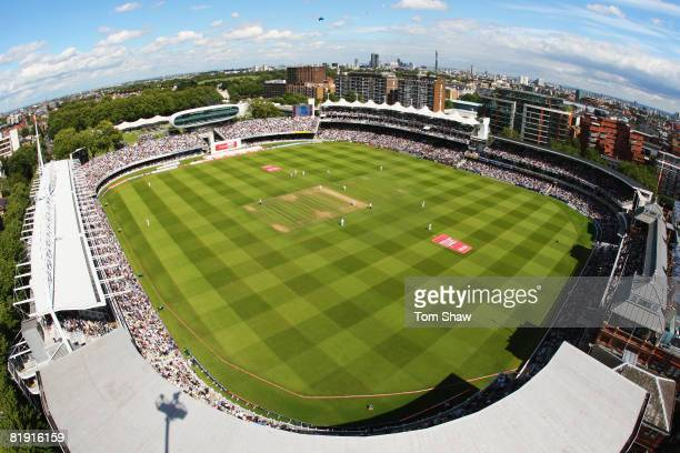 A general view of the ground during day three of the First Test match between England and South Africa at Lord's Cricket Ground on July 12 2008 in...