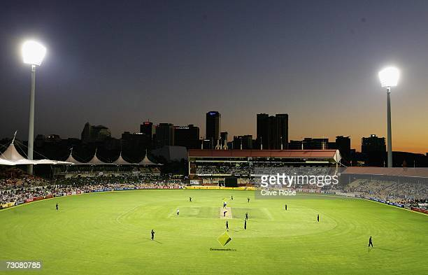 A general view of the ground during game six of the Commonwealth Bank One Day International Series between New Zealand and England at the Adeliade...