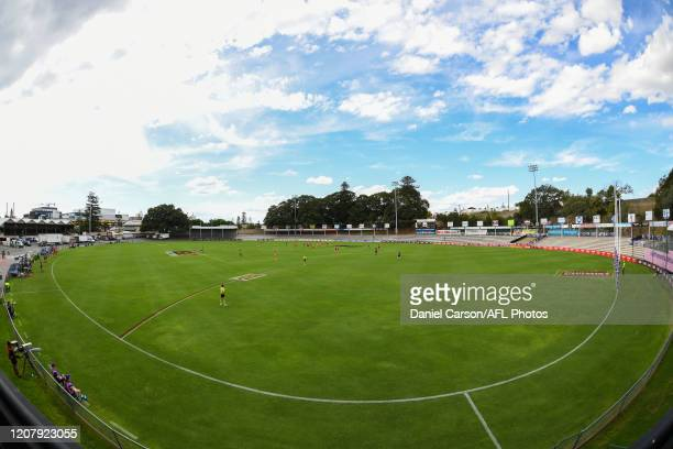 General view of the ground during the 2020 AFLW Semi Final match between the Fremantle Dockers and the Gold Coast Suns at Fremantle Oval on March 21,...