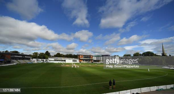 General view of the ground during the Bob Willis trophy match between Worcestershire and Somerset at New Road on September 08, 2020 in Worcester,...