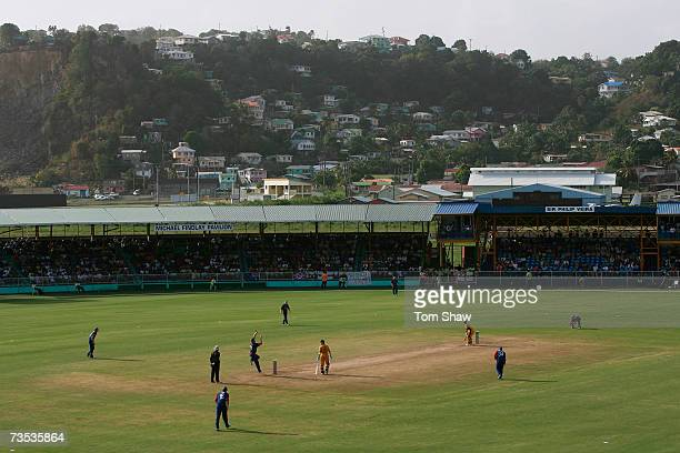 A general view of the ground during the Cricket World Cup 2007 Warm Up Match between Australia and England at the Arnos Vale Sports Complex on March...