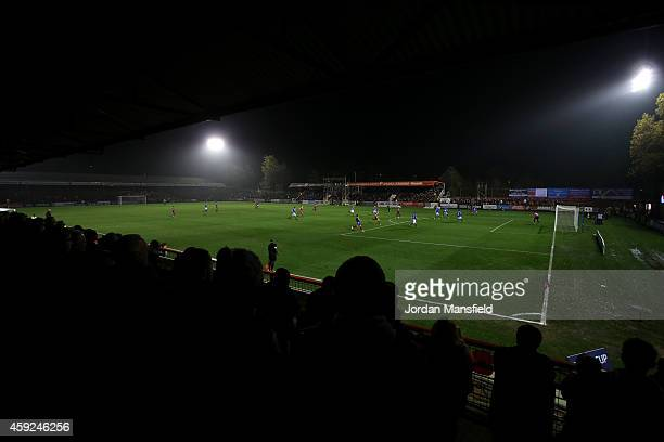 A general view of the ground during the FA Cup First Round Replay match between Aldershot Town and Portsmouth at The Electrical Services Stadium on...
