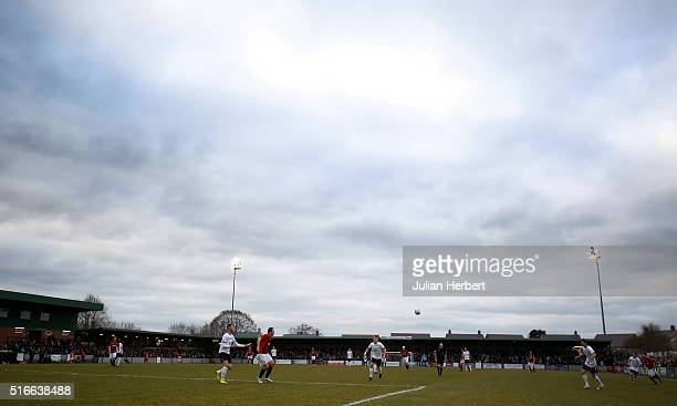 A general view of the ground during the FA Vase Semi Final Second Leg Match between Salisbury and Hereford at The Ray Mac Stadium on March 19 2016 in...