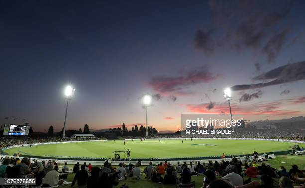 General view of the ground during the first one-day international cricket match between New Zealand and Sri Lanka at Bay Oval in Mount Maunganui on...