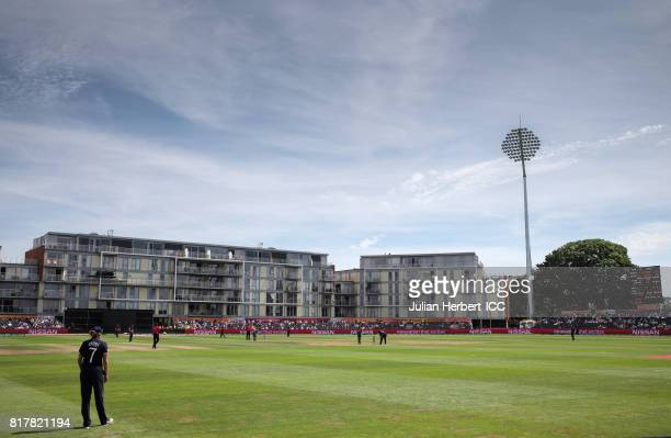 A general view of the ground during The ICC Women's World Cup 2017 SemiFinal between England and South Africa at The County Ground on July 18 2017 in...