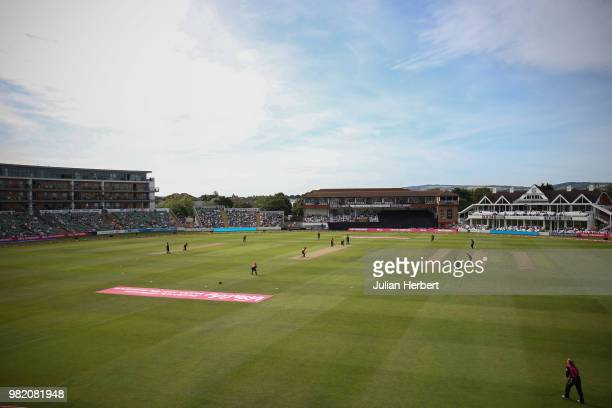 A general view of the ground during the International T20 TriSeries match between England Women and New Zealand Women at The Cooper Associates County...
