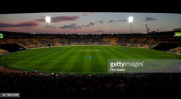 General view of the ground during the International Twenty20 match between New Zealand and England at Westpac Stadium on February 13, 2018 in...