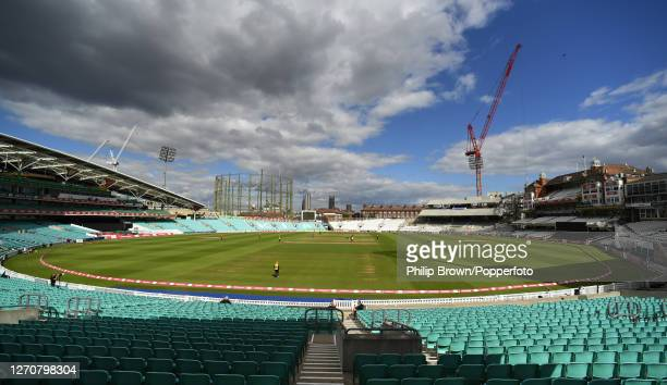General view of the ground during the match between Kent and Essex Eagles at The Kia Oval on September 05, 2020 in London, England.