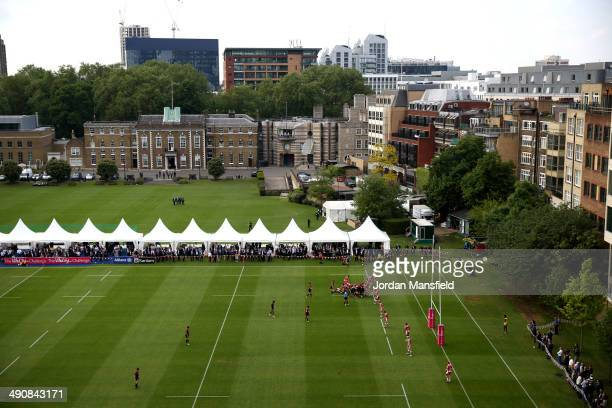 A general view of the ground during the match between Saracens and Gloucester at the Honourable Artillery Company on May 15 2014 in London England