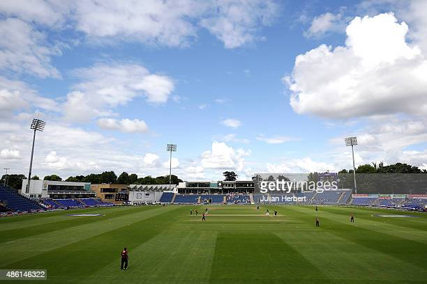 A general view of the ground during the NatWest Club T20 Finals day match between Exmouth Cricket Club and Pudsey Congs Cricket Club at The SWALEC...
