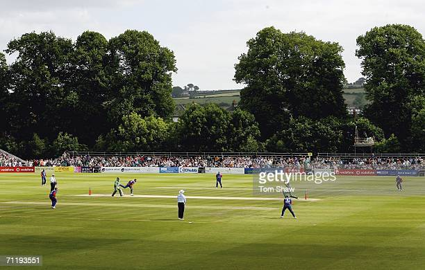 A general view of the ground during the One Day International match between Ireland and England at the Civil Service North of Ireland Cricket Club in...