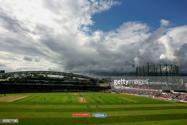 General view of the ground during the Twenty20 Semi Final match between Somerset and Leicestershire at the Oval on July 30 2005 in London, England.