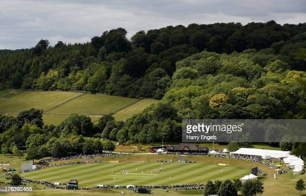 General view of the ground from a nearby hillside during day two of the Women's Ashes Series match between England and Australia at Wormsley Cricket...
