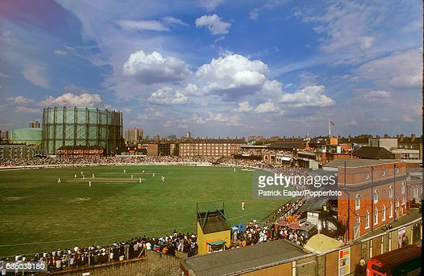 General view of the ground from the Archbishop Tennyson's school during the match between England and Rest of the World XI at The Oval, London, 13th...