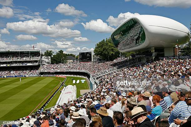A general view of the ground including the Media Centre during day two of the First Test match between England and South Africa at Lord's Cricket...